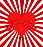Valentine Hearts on Red Rays Royalty Free Stock Photos