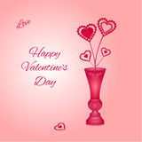 Valentine hearts in a red vase vector Royalty Free Stock Image