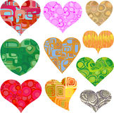 Valentine hearts in retro patterns vector Stock Photography