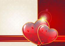 Valentine hearts and ribbon Stock Images