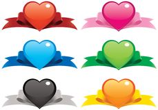 Valentine Hearts And Ribbons Stock Photography