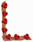 Valentine Hearts and ribbons border Stock Photo