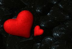 Valentine hearts from rocks background  - 3d rendering. 1 Royalty Free Stock Photo