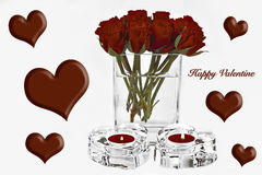 Valentine Hearts and Roses. Happy Valentine Greeting Card with Hearts and Roses Stock Photo