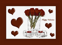 Valentine Hearts and Roses. Happy Valentine Greeting Card with Hearts and Frame Stock Images