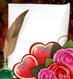 Valentine hearts, roses and  sheet of paper Royalty Free Stock Images