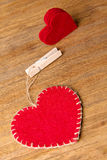 Valentine hearts on rustic wooden background Stock Images