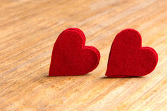 Valentine hearts on rustic wooden background Stock Photo