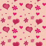 Valentine hearts seamless pattern and flowers Stock Photography