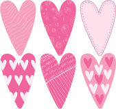 Valentine Hearts Set. A set of six stylized valentine hearts Royalty Free Illustration