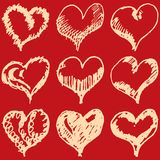 Valentine hearts sketch set on red background Stock Image