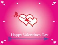 Valentine Hearts su fondo rosa Immagine Stock Libera da Diritti