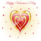 Valentine hearts with sunburst background Royalty Free Stock Photo