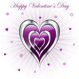 Valentine hearts with sunburst background Royalty Free Stock Images