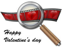 Valentine with hearts under magnifying glass.  Royalty Free Stock Photography
