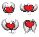 Valentine hearts with wings and vintage pattern Stock Images