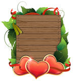 Valentine hearts on wooden background Stock Photography