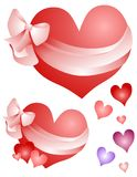 Valentine Hearts Wrapped in Bows Clip Art Stock Photo