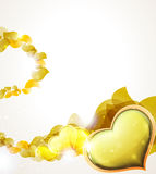 Valentine hearts and  yellow petals Stock Photo