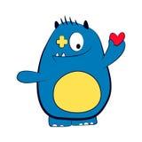 Valentine-het blauw van het liefdemonster met rood hart Geïsoleerdeo illustratie Royalty-vrije Stock Foto's
