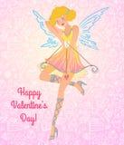 Valentine-het meisje van de dagengel Royalty-vrije Stock Foto