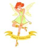 Valentine-het meisje van de dagengel Royalty-vrije Stock Afbeelding