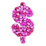 Valentine-het teken van de dollarmunt - Bedrijfs 3d hartsymbool - Geschikt voor de dag van Valentine, romantism of hartstocht ver vector illustratie