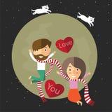 Valentine heureuse avec la lune Photographie stock libre de droits