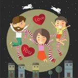 Valentine heureuse avec ma famille Image libre de droits