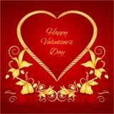 Valentine heureux a doré le coeur avec de l'or et le vecteur de feuilles de rouge Photo libre de droits