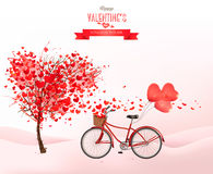 Valentine holiday background with heart shaped tree and bicycle Stock Images