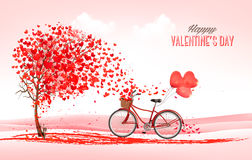 Valentine holiday background with heart shaped tree and bicycle Royalty Free Stock Images