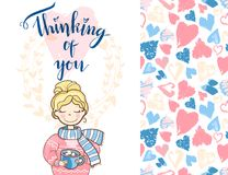 Valentine holiday card with the cute dreaming girl in sweater an. D scarf. lettering thinking of you. Plus seamless pattern Royalty Free Stock Photos