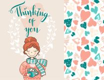 Valentine holiday card with the cute dreaming girl in sweater an. D scarf. lettering thinking of you. Plus seamless pattern Stock Photos