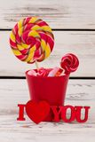 Valentine holiday decoration with candies. royalty free stock image