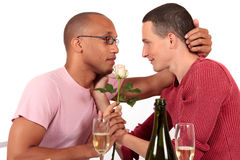 Valentine homosexuel de couples d'appartenance ethnique mélangée Image libre de droits