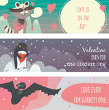 Valentine horizontal banners set with fun animals with hearts and motivating quotes in text holders, smiling, cute, with closed ey Stock Image