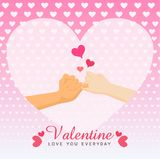 Valentine. I`m sorry don`t be angry cross finger hands form on white heart pink background of love for valentine`s day, greeting invitation wedding card flat Stock Photography