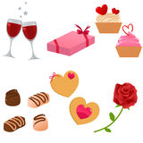 Valentine icon set. Set of cute Valentine themed icons Stock Images