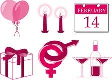 Valentine icon set. Vector icon set. Saint Valentine`s day theme Stock Photos