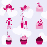 Valentine icon set with love birds Stock Images