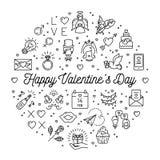Valentine Icon, simboli di amore, linea di infographics del cerchio di nozze assottiglia lo stile illustrazione vettoriale