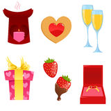 Valentine icons. Cute Valentine's day themed icons Stock Image