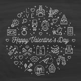 Valentine icons chalkboard background, Valentines Day signs and love symbols Royalty Free Stock Photography