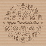 Valentine icons love line symbols, Circle infographics, Trendy cardboard card Stock Photography