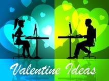 Valentine Ideas Shows Decision Girlfriend et célébration illustration libre de droits