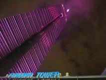 Valentine Illumination på det Fukuoka tornet royaltyfria bilder