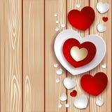 Valentine-illustratie met harten op houten achtergrond Royalty-vrije Stock Fotografie