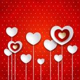Valentine-illustratie met harten op rode achtergrond Royalty-vrije Stock Foto