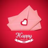 Valentine-illustratie, roze envelop met hart, groetkaart vector illustratie
